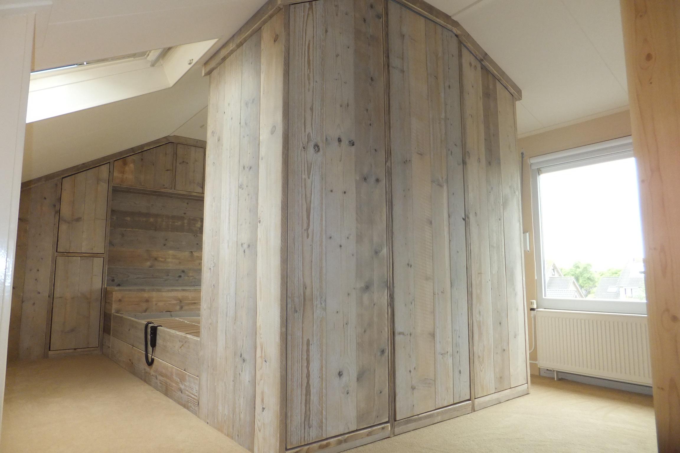... Steigerhout slaapkamer kast : Maatwerk steigerhouten bedombouw jl